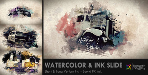 Watercolor & Ink Slideshow - Project for After Effects