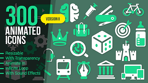 300 Animated Icons - Project for After Effects (Videohive)
