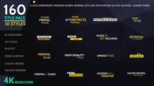 160 Titles Pack Different Styles - Project for After Effects (Videohive)