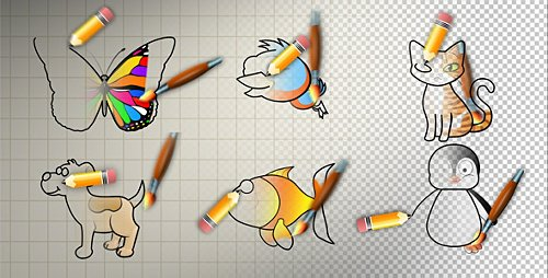 Animal Cartoon Paint - Motion Graphic + AE-Project (Videohive)