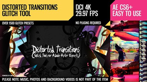 Distorted Transitions (Glitch Tool) - Project for After Effects (Videohive)