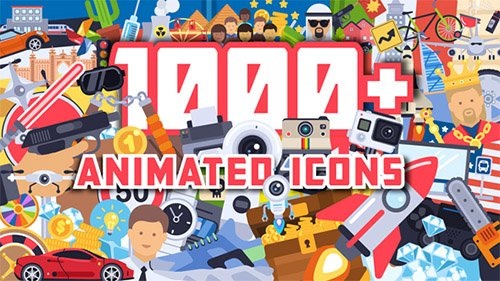 1000+ Flat Animated Icons Pack - Project for After Effects (Videohive)