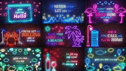 Neon Lyrics Template - Project for After Effects (Videohive)