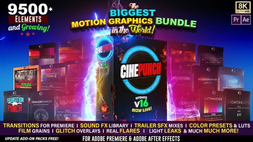 CINEPUNCH V16 - The Biggest Motion Graphics Bundle in the World! - After Effects Add Ons & Project (Videohive)