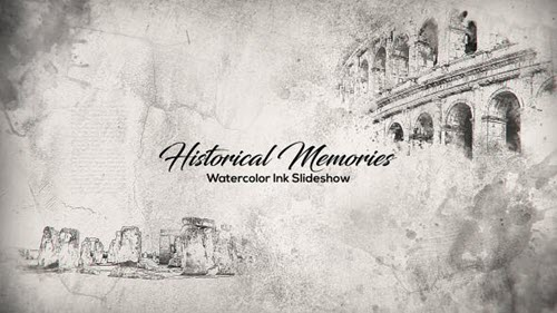 Historical Memories // Watercolor Ink Slideshow - Project for After Effects (Videohive)