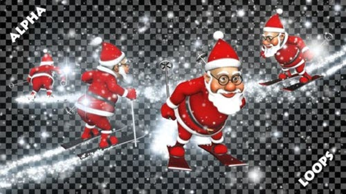 3D Santa Skier Transitions (Alpha Pack) - 22986968 - Motion Graphics