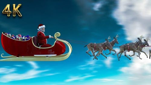 Videohive - Realistic santa claus and deers - 29589232 - Motion Graphics