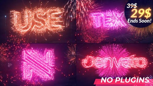 Text & Logo Fireworks - 34144833 - Project for After Effects